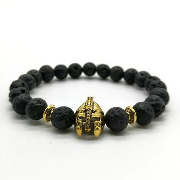 Men's Helmet Bracelet with Natural Stone Beads | Gold or Silver