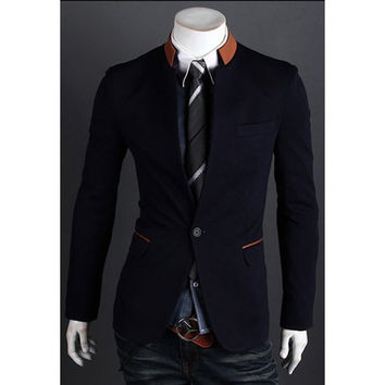 One-Button Stand Collar Color Block Blazer