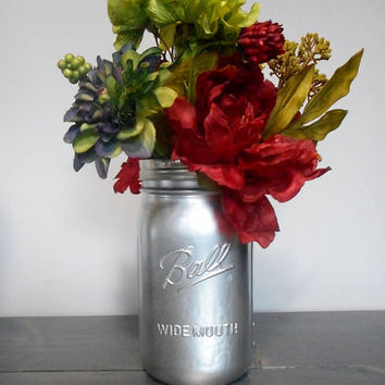Metallic Aluminum Mason Jar Flower Vase, Centerpiece Vase, Painted Mason Jar Decor, Chic Decor, Rustic Decor, Beach Decor, Wedding Vases