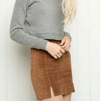 Sexy Slim Hem Package Hips Corduroy Skirt Melville Women Elastic Waist Bodycon Mini Skirts 3 Colors S72