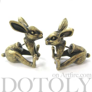 Fake Gauge Earrings: Realistic Bunny Rabbit Animal Shaped Plug Stud Earrings in Brass