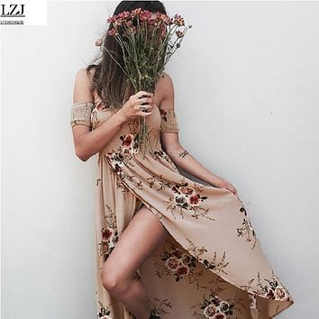 LZJ vestidos de festa BOHO style female summer long dress loose shoulder beach floral print chiffon retro white maxi dress size