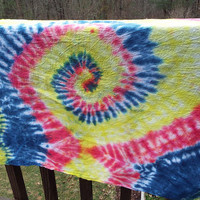 XL TieDye Bandanna in Primary Colors, Large Tie Dye Bandana, Hippie Bandana, For Big Dogs, Dog Accessory, Red Yellow Blue, Boho, Retro