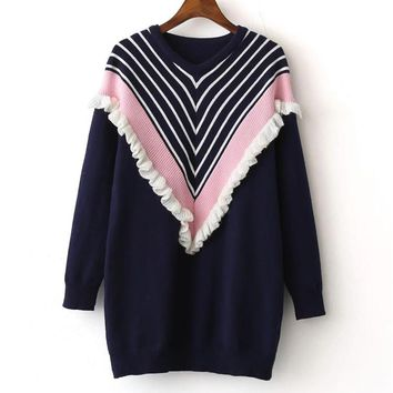Patchwork Stripe Long Sleeves Ruffles Long Sweater