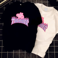 Thrasher& Pig Peggy letter print short sleeve round neck couples T-shirt top Black