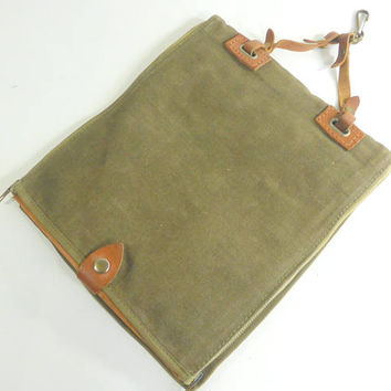 Vintage French Military Canvas Map Case Olive Green with Leather Trim I Pad or Mini Tablet Pouch No Straps Book Bag Artist Bag Organizer