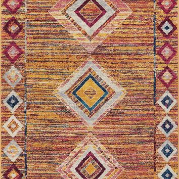 2970 Orange Multi Moroccan Diamond Contemporary Area Rugs