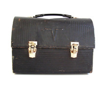 vintage black metal lunchbox / Dome top Victory Lunch Box