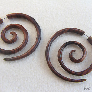 Tribal Fake Gauge Wood Earring, Large Spiral Wooden Earrings, Handmade Double Spiral Earring