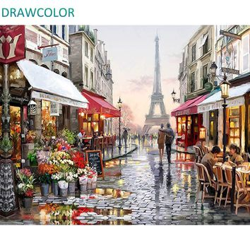 DRAWCOLOR Frame DIY Painting By Numbers Kits Paris Street Landscape Modern Wall Art Picture Canvas Painting For Home Decor 40x50