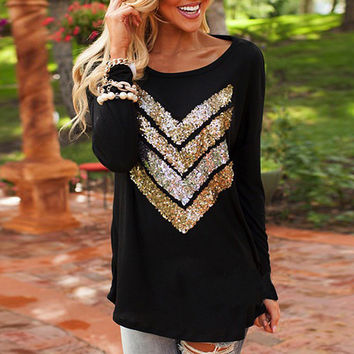 Chevron Sequin Pattern Long Sleeves Top in Black