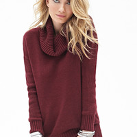 LOVE 21 Classic Cowl Neck Sweater Burgundy