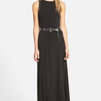 Women's MICHAEL Michael Kors Belted Grommet Detail Maxi Dress,