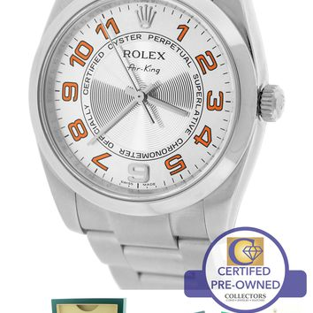 2015 Rolex Oyster Perpetual Air-King 34mm Silver Concentric 114200 Steel Watch