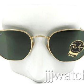 New Ray Ban Round Hexagonal FLAT Green Classic Sunglasses RB3548N 001 51 $153