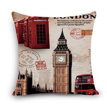 "New Arrival cheap cushions london Print Home Decorative Cushion Throw Pillow 18"" Vintage Cotton Linen Square Pillows MYJ-A2"