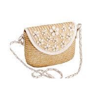 Daisy Straw Crossbody Bag