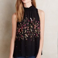 Floreat Lila Embroidered Tank in Black Size: