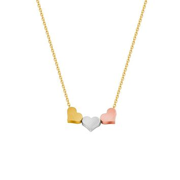 Gold Silver Rose Gold Minimal Heart Pendants Necklaces For Women Three Best Friends Bff Jewelry Stainless Steel Bridesmaid Gift