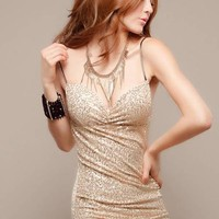 Apricot Black The New Nightclub Sexy Sequined Dress