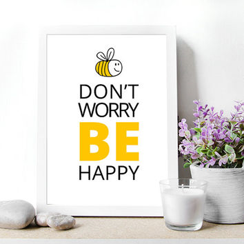 "Printable Wall art Poster. Be happy poster. Digital file , 8.5""x11""inch .Instant Download,funny quote, home Decor mokileArt Design"