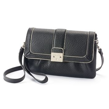 Chaps Tinsley Pleated Convertible Wristlet (Black)