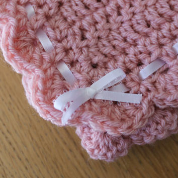 Crochet Pink Baby Blanket/Afghan with Shell Edging and Ribbon Detail
