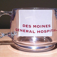 Vintage collectible souvenir clear plastic coffee mug commemorating the 75th Anniversary of Des Moines General Hospital 1916-1991.