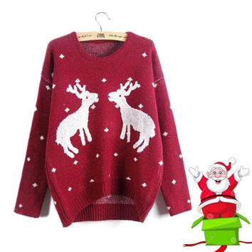ugly christmas sweater women xmas deer embroidery tricot female o-neck long sleeve autumn winter jersey ladies wine red knitwear