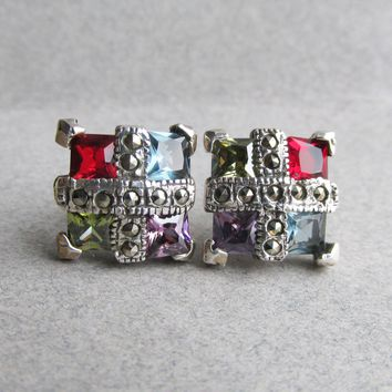 Square Sterling Silver Vintage Multi Gemstone Stud Earrings, Garnet, Blue Topaz, Peridot, Amethyst, Marcasite