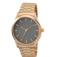 Rose Gold Watch with rose gold indexes in titanium face with metal band