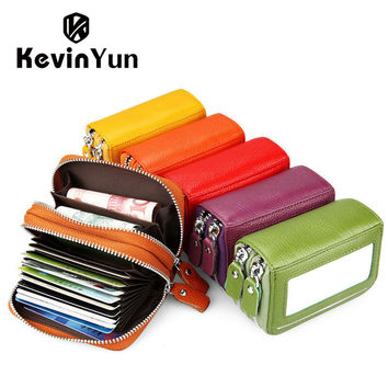 KEVIN YUN Fashion Brand Genuine Leather Women Card Holder Double Zipper Large Capacity Female ID Credit Card Case Bag Wallet