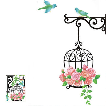 Cage flower bird Lovely Window Handdrawing Decal Vinyl Wall Sticker PVC Decor Decoration Free Shipping