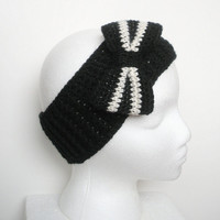 Black Ear Warmer Headband with Large Black and White Striped Bow, ready to ship.