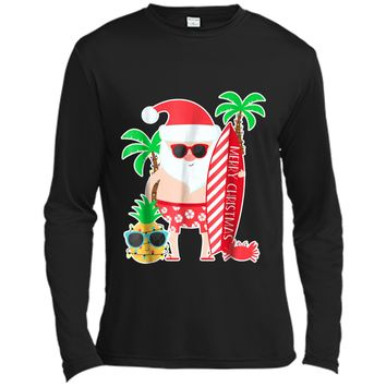 Santa Surfing Hawaiian Gift  for Christmas Family Trip Long Sleeve Moisture Absorbing Shirt