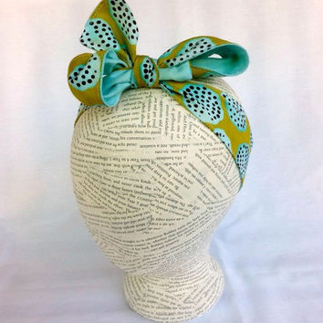 Reversible HeadWrap - Reversible Head Wrap - Size Child to Adult - Headband Headwrap -  Aqua & Avocado Green Headband - Tie Bow Headband -