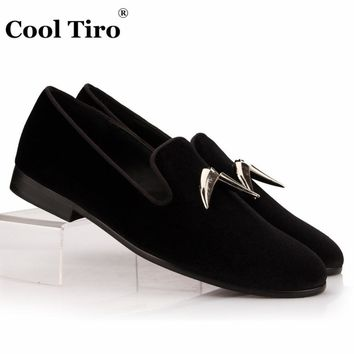 COOL TIRO Black Velvet Loafers Silver Shark Tooth Tassel Slippers