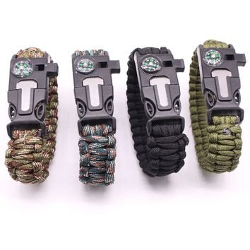 Multi-functional Outdoor Bracelet Camping Hiking Survival Bracelet Gear Escape Tool Paracord Whistles Dropshipping