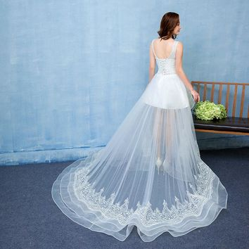 Front Short Long Back Wedding Dress Strapless Tulle Beach Bridal Gown Lace Bead