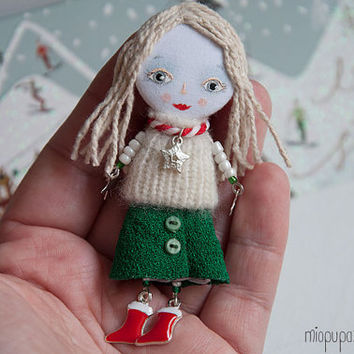 Christmas Tiny Girl, Art doll brooch, mixed media collage