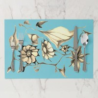 Exotic Art Deco Turquoise Watercolor Flowers Placemat