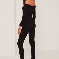 Missguided - Black Fold Over Bardot Ribbed Jumpsuit