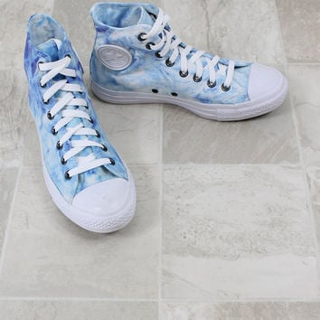 Chuck Taylor All Stars, Converse high top shoes, blue marble converse, hand dyed marbled converse, converse all star