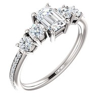 0.75 Ct Emerald Diamond Engagement Ring 14k White Gold