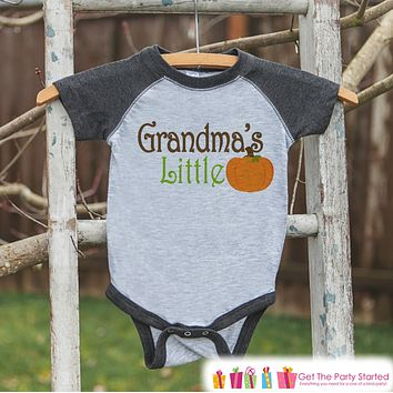 Grandma's Little Pumpkin - Kids Pumpkin Outfit - Girls or Boys Pumpkin Shirt - Grey Raglan Tshirt or Onepiece - Baby or Toddler Halloween