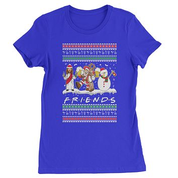 Friends Christmas Drinking Party Ugly Christmas Womens T-shirt