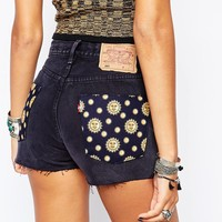 Reclaimed Vintage Cut Off Levis Shorts With Sun & Moons Back Patches