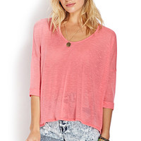 FOREVER 21 Comfort Zone Dolman Top Coral Small