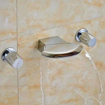 Polished Chrome Waterfall Bathroom Basin Faucet Tub Spout Sink Mixer Tap 3 Holes