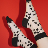Sheer White and Black Star Socks - Socks - Accessories